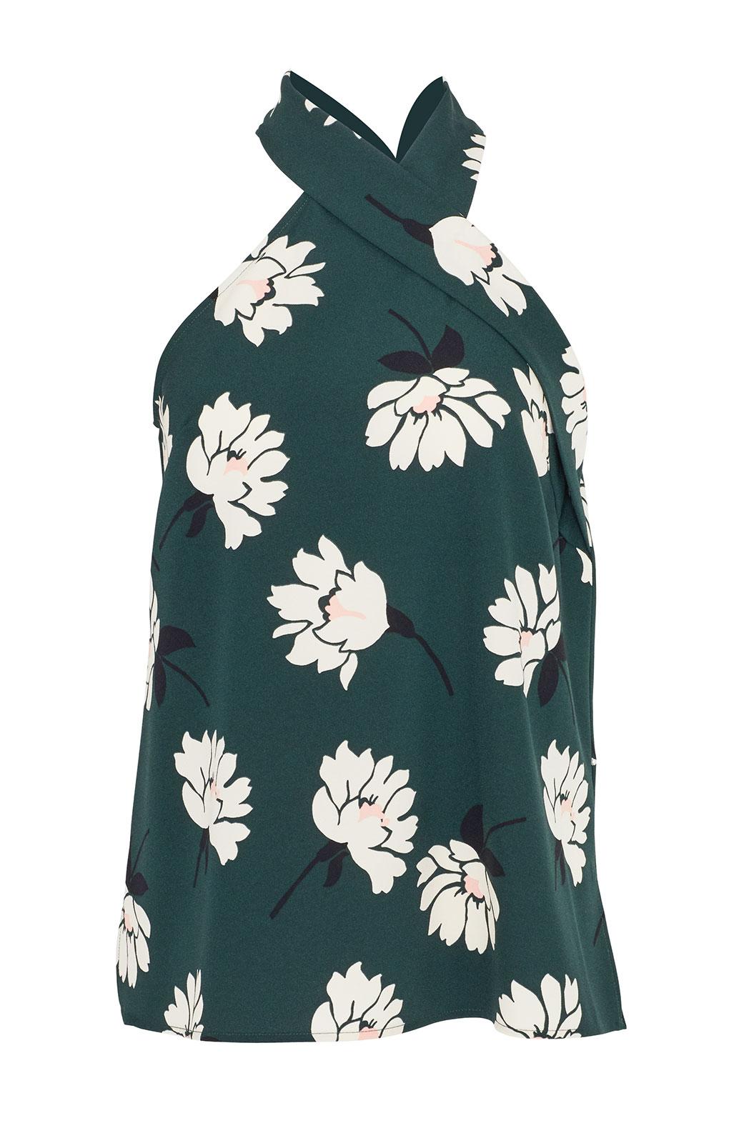 <ul><li>Floral crepe halter top with tie detail</li><li>Designed for a loose fit</li><li>Concealed zip fastening and buttons at center back</li><li>Polyester/Elastane</li><li>Machine wash cold, dry flat</li><li>Made in USA</li></ul>