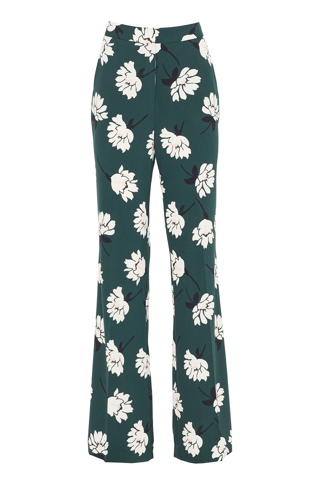 <ul><li>Floral crepe high waisted wide leg Ruthie pant</li><li>Concealed hook, button, and zip fastening at front</li><li>Polyester/Elastane</li><li>Machine wash cold, dry flat</li><li>Made in USA</li></ul>