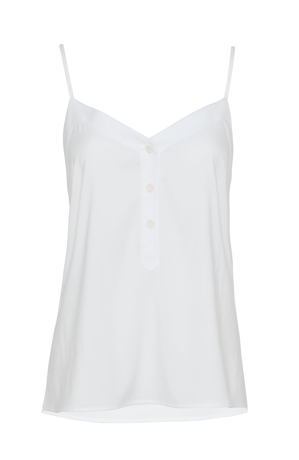 <ul><li>Sleeveless fluid crepe blouse with button front detail</li><li>Polyester/elastane</li><li>Dry clean Only</li></ul>