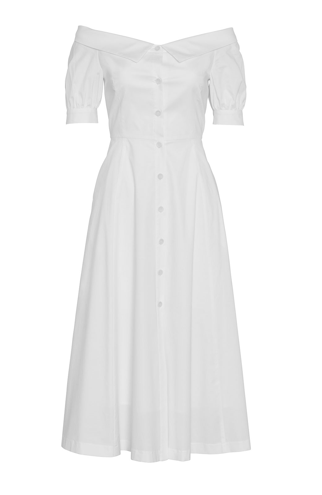 <ul><li>Short sleeve cotton off the shoulder shirt dress</li><li>Full skirt with button front detail</li><li>97% Cotton 3% Elastane, Lining - 100% Cotton</li><li>Dry Clean Only</li></ul>
