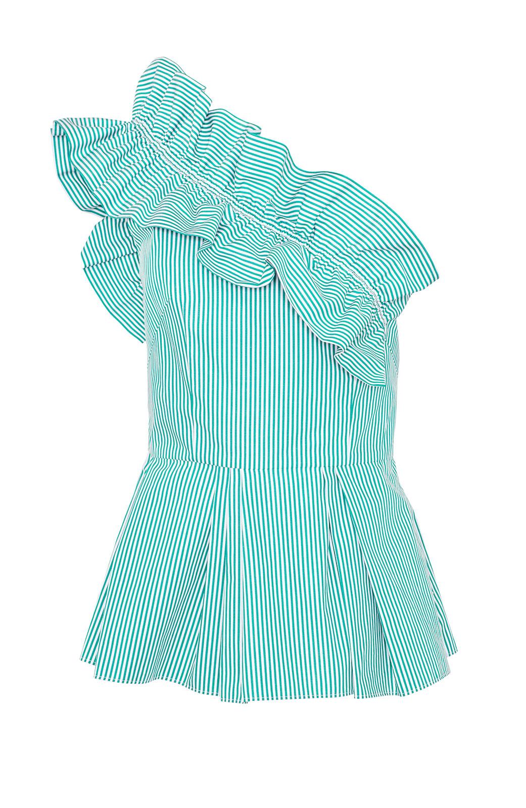 <ul><li>Striped cotton one shoulder top with ruffle detail</li><li>Fit and flare peplum shape</li><li>Concealed zipper at side</li><li>100% Cotton</li><li>Dry clean</li><li>Made in USA</li></ul>