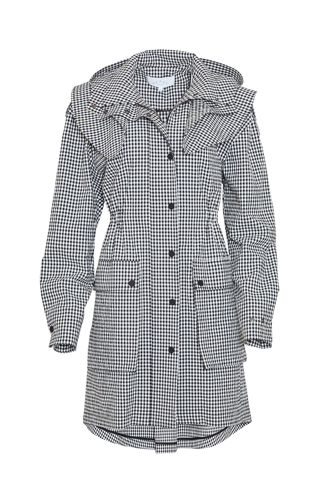 <ul><li>Checked seersucker anorak jacket with removable hood</li><li>Concealed front zipper and snap fastening with elastic waistband</li><li>Designed for a relaxed fit</li><li>96% Cotton, 4% Elastane</li><li>Dry clean</li><li>Made in USA</li></ul>